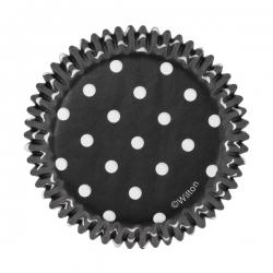 Schwarze Muffinsförmchen mit Punkten Wilton 415-7068