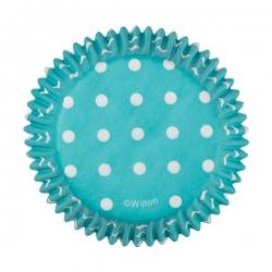 Blaue Papierförmchen mit Punkten für Muffins Wilton 415-0156