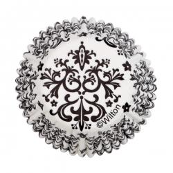 Papilotki do mini muffinów biało czarne ornamenty 100 szt. Wilton 415-2354