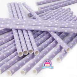 Lavendel- gepunktete Papierstrohhalme