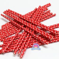 Papierowe słomki czerwone w kropeczki