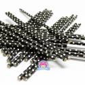 Papierowe słomki czarne w kropeczki