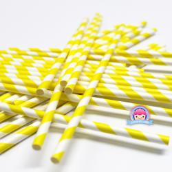 Papierstrohhalme mit gelben Streifen