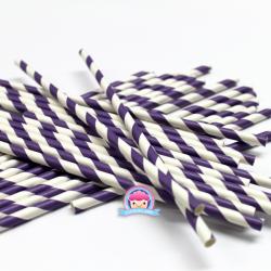 Papierstrohhalme mit violetten Streifen