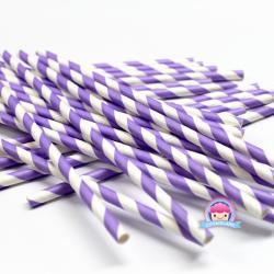 Papierowe słomki w jasnofioletowe paski