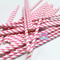Papierowe słomki w różowe paseczki