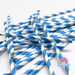 Papierstrohhalme mit blauen Streifen
