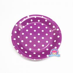 Violett Papierteller mit Punkten