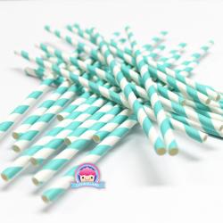 Türkise Papierstrohhalme mit Streifen