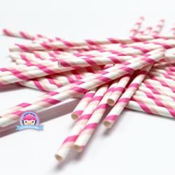 Papierowe słomki w podwójne różowe paski