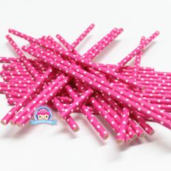 Papierowe słomki różowa fuksja w białe kropeczki