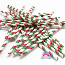 Papierowe słomki świąteczne w czerwono zielone paski