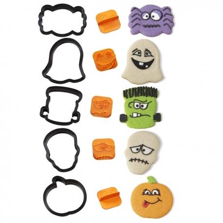 Foremki plastikowe Halloween twarze z szablonami 10 szt. Wilton 2304-1225