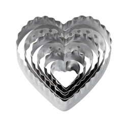 Set von 6 Formen Herzen gerippt und glatt 417-2588