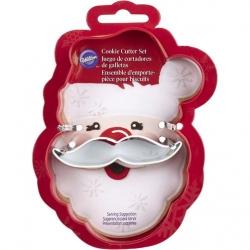 Świąteczny zestaw foremek w kształcie Mikołaja z wąsami 2 szt. Wilton 2308-3270